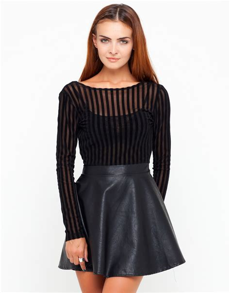 Skirted Dresses by Buy Motel Agnes Pu Skirt Dress In Black Flocked Stripe At