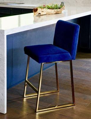 Bar Stools Navy Blue by Linden Bar Stool In Brass In Navy Blue Velvet Cottage
