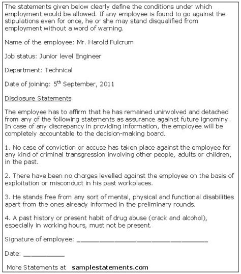 statement of employment template employee disclosure statement sle statements