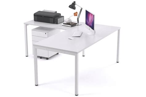 white x leg desk manager desk l shaped white square leg litewall 2000