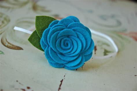wool felt flower headband baby flower bands large felt roses in turquoise