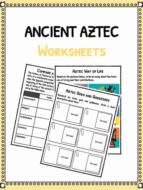 Aztec Worksheets ancient aztec facts worksheets historic information for