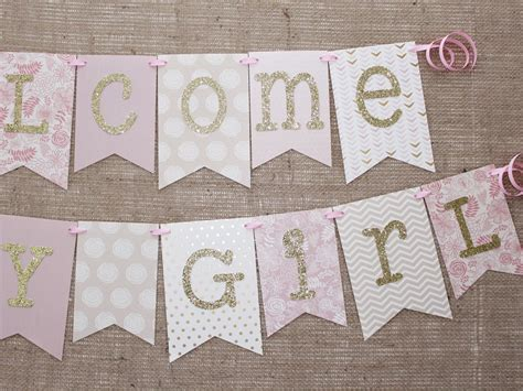 Baby Shower Banner by Pink And Gold Baby Shower Banner 1 0 Gold Baby Showers