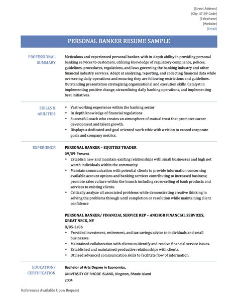 personal banker resume objective free sample personal banking resume