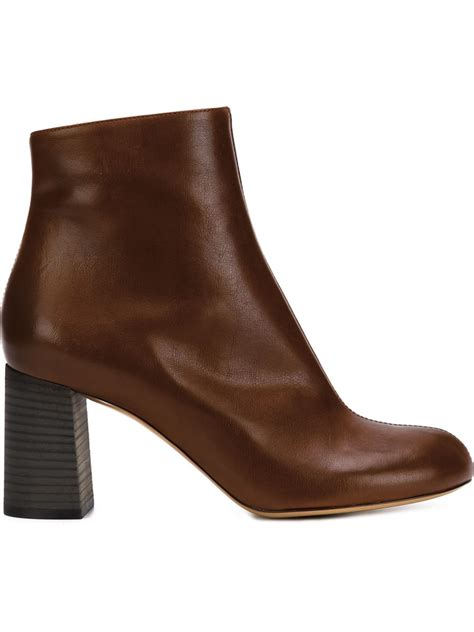 chlo 233 chunky heeled leather ankle boots in brown lyst