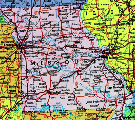 map of us states missouri detailed map of missouri state with highways vidiani