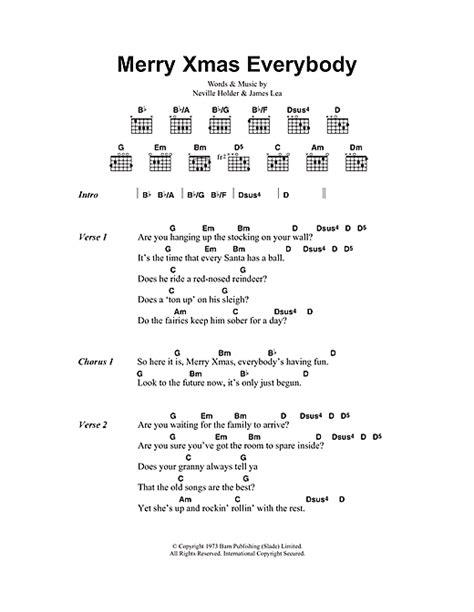 Merry Xmas Everybody sheet music by Slade (Lyrics & Chords
