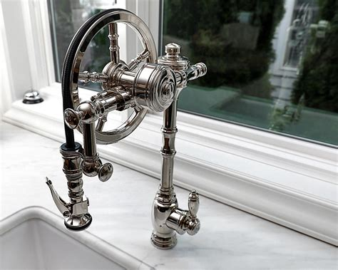 Waterstone Wheel Pulldown in Polished Nickel. Kitchen