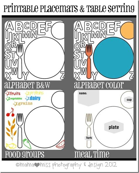 Printable Place Mats by Erase Printable Placemats