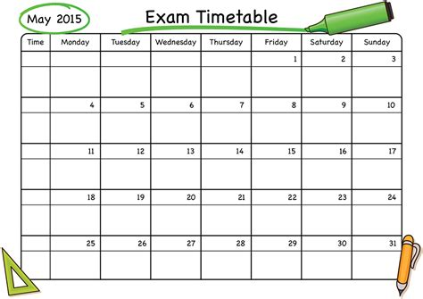 printable revision calendar exam timetable schoolstickers