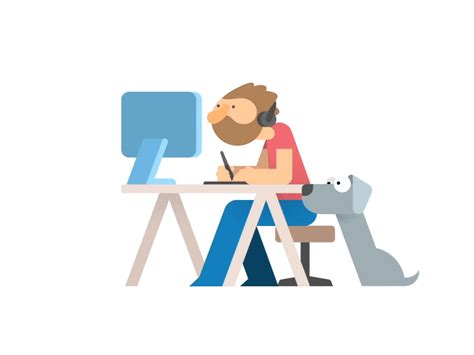 working  home animation design character design