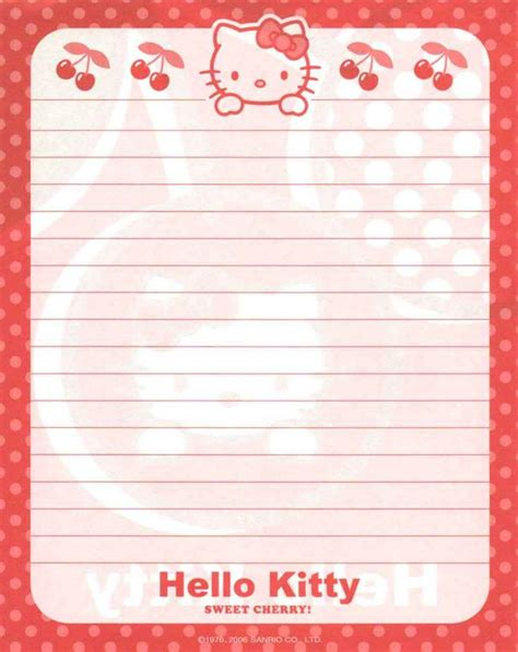 free printable hello kitty lined paper 17 best images about printable stationary on pinterest