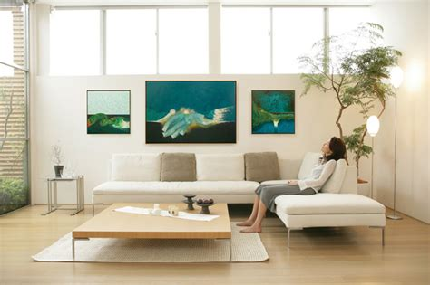 living room picture frames series of canvas paintings in wood floater frames
