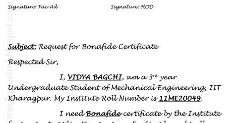 Bonafide Certificate Letter To Principal Questions Answers Sle Application For Bonafide