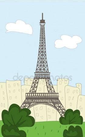 dibujos animados de torre eiffel ilustraciones de stock