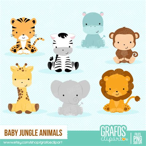 Zoo Animal Baby Shower by Baby Jungle Animals Digital Clipart Set Animals Clipart