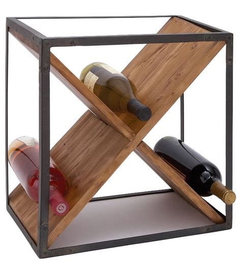metal and wood wine rack contemporary wine racks by