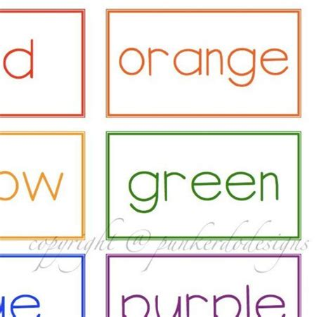 Colors Flashcards Printable