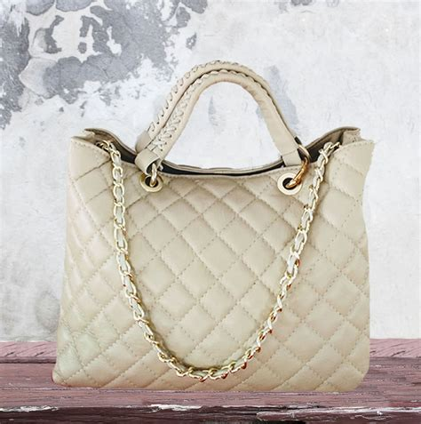 quilted leather leather quilted chanel style tote nkd italian