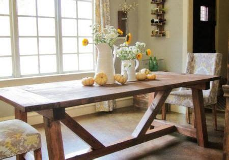 ana white 4x4 truss dining room table and bench diy 4x4 truss beam table knock off wood dining room