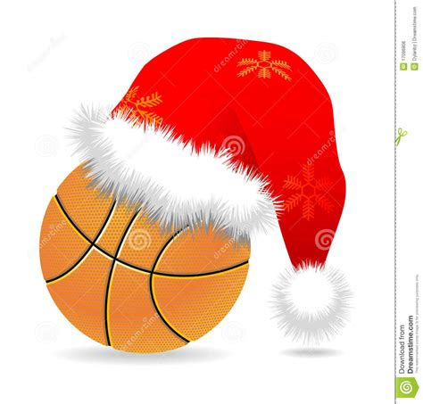 santa cap over basketball royalty free stock image image
