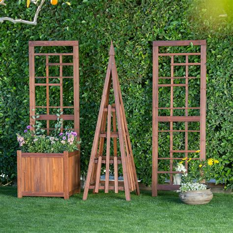 wooden trellis trellises on hayneedle outdoor wall garden trellises