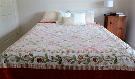 Cotton Square Combi Ruby handmade bed quilt king bed quilt vintage