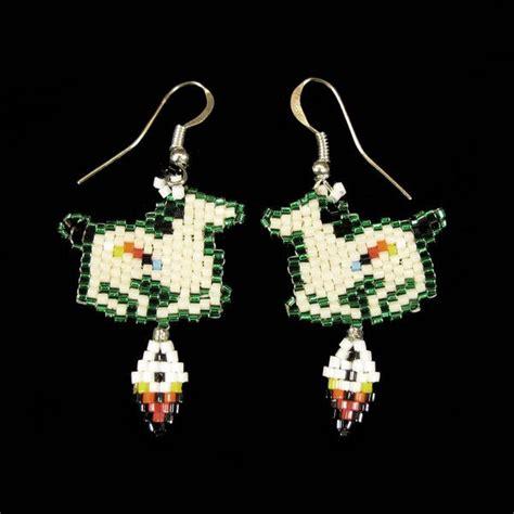 beadwork green green beaded pony earrings brickstitch indian beadwork