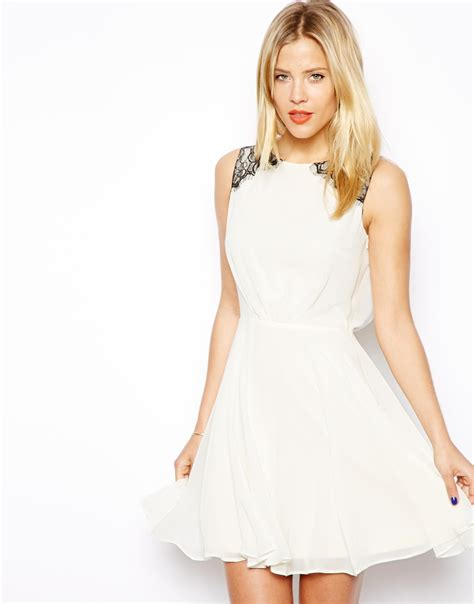 dress with drape asos skater dress with lace drape back in natural lyst