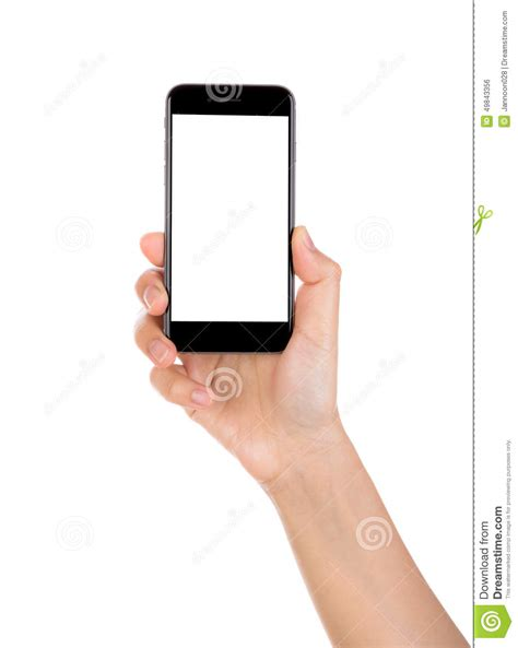 foto mobile holding mobile smart phone with blank screen isolated