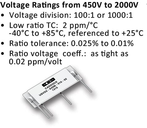 capacitive divider high voltage caddock s precision high voltage resistors