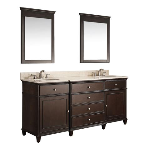 bed sinks in middle long white wooden vanity with double white on the
