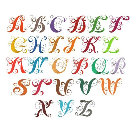 embroidery templates letters curly monogram alphabet machine embroidery