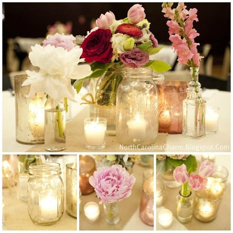 flowers and candles in mason jars centerpiece ideas
