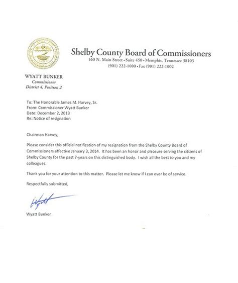 Resignation Letter Vs Email Bunker Tenders Resignation From Commission May