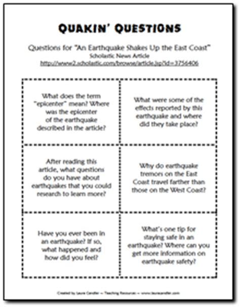 earthquake questions discussion questions and a link to an informational text