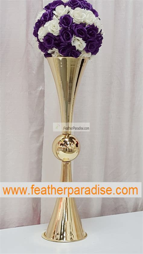 Used Vases by Discount 29 Inches Reversible Gold Metal Trumpet Vases