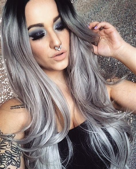 brown long hair with grey aroung front crystal ball lush wigs long grey ombre silver roots