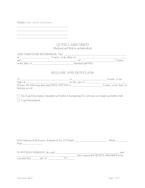 free printable quit claim deed form indiana indiana quit claim from wife to husband fill online