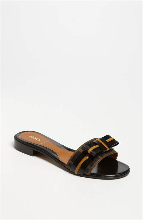 fendi sandals fendi pride prejudice bow slide sandal in black tobacco