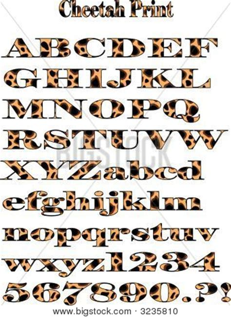 leopard pattern font vector cheetah pattern alphabet print eps stock vector
