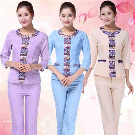 Jas Dokter Lengan Pendek Ukuran S Seragam Dokter perawat medis elegan floral katun seragam salon kecantikan