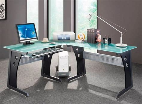 home office desks glass panel steel frame l shaped