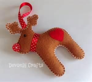 reindeer felt hanging decoration x1 folksy