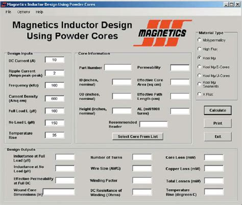 micrometals inductor design software software for inductor design 28 images micrometals inductor designer stetra studio