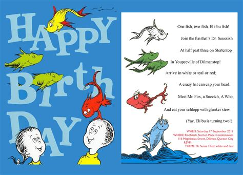 Dr Seuss Birthday Card Dr Seuss Party Invitations Theruntime Com