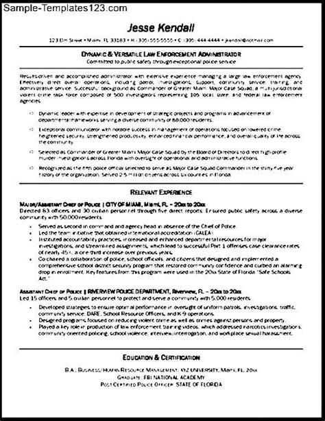 Sle Of A Enforcement Resume Enforcement Resume Templates Federal Enforcement Resume Sle Sle Templates