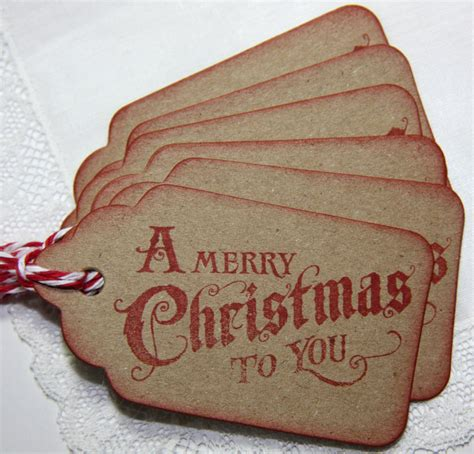 vintage christmas gift tags set of 6