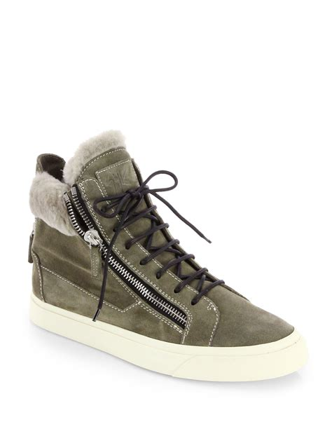 giuseppe high top sneakers giuseppe zanotti suede shearling high top sneakers in
