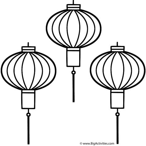 new year lantern colouring lanterns coloring page new year